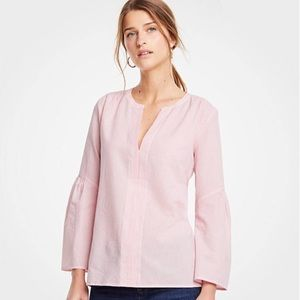 ANN TAYLOR Seersucker Long Sleeve Tunic